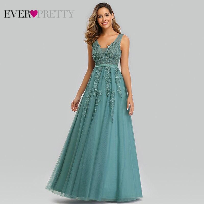 Ever Pretty robes De soirée en dentelle longue a-ligne col en v Appliques robes formelles élégantes robes De soirée d'été EP07723BD Robe De soirée