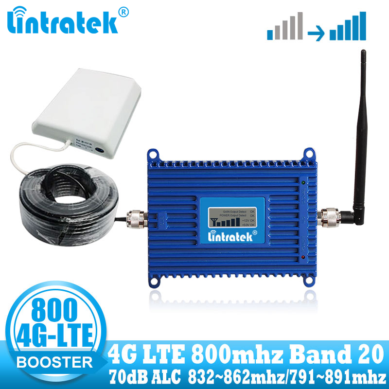 Lintratek 4G LTE 800 Mhz Mobile Cell Phone Signal Amplifier 800mhz Cellular Booster Band 20 Internet Repeater Set  For Europe