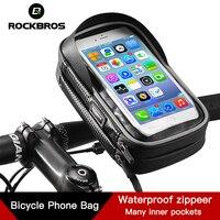 ROCKBROS 사이클링 자전거 자전거 전화 가방 6.0 인치 비 방수 TPU 터치 스크린 자전거 MTB 프레임 파우치 케이스 핸드폰 핸들 바 가방
