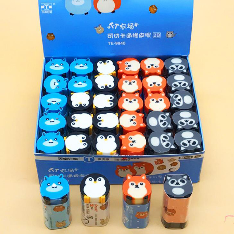 1 Pcs Cartoon Animal Penguin Fox Raccoon Eraser Rubbe Pencil Erasers Painting Drawing Tools Student Prizes School Stationery