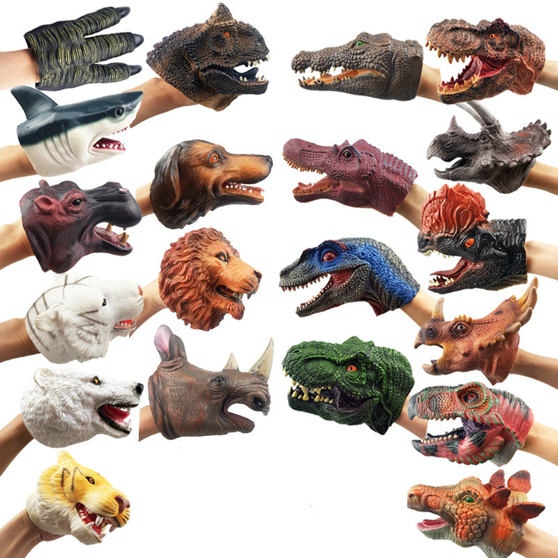 New style Soft Doll Dinosaure Hand Puppets Figure Head Animal Arm Dino Toys For Stories Gift Children Model World