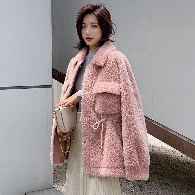 100% Wool Jacket Real Fur Coat Korean Sheep Shearling Autumn Winter Coat Women Clothes 2020 Women Tops Abrigo Mujer B19F22196