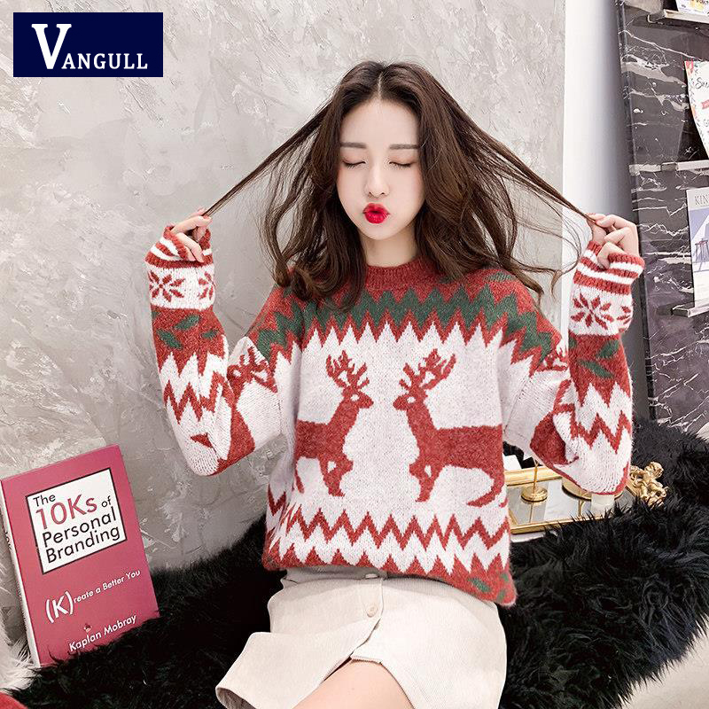 Vangull Christmas Knitted Sweaters Classic Deer Printed Xmas O-neck Pullover Women Loose Casual Tops Lady Winter Warm Streetwear