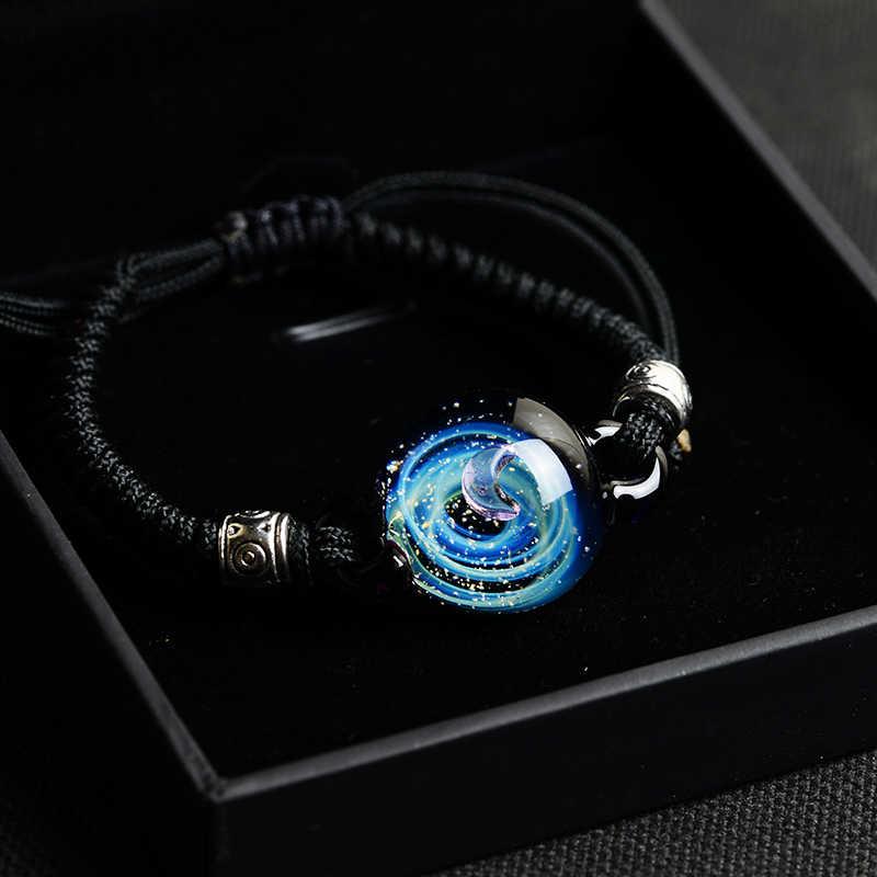 BOEYCJR חמה יקום כוכבי לכת זכוכית חרוז צמידים & צמידי תכשיטים גלקסי שמש מערכת צמיד לנשים חג המולד