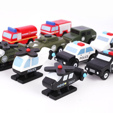Military police series car models set 12pcs wooden toy diy Model Building Kits Diecasts Toy Vehicles toys for children gift