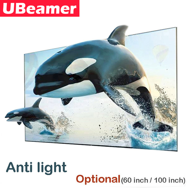 UBeamer 16:9 Anti light Reflective Fabric Screen Optional (60/100 Inches) for Home Theater Support DLP Project for Video Movie