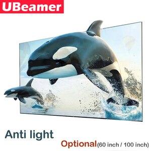 Image 1 - Ubeator 16:9 شاشة نسيج عاكسة مضادة للضوء اختيارية (60/100 بوصة) لمشروع DLP لدعم المسرح المنزلي لفيلم الفيديو