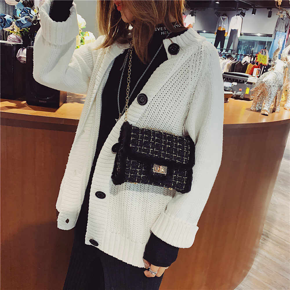 Luksusowe łańcuchy kobiety torby pluszowe wełny torba fala łańcuch pojedynczy na ramię małe kwadratowe torebki sac głównej femme de marque luxe 30H