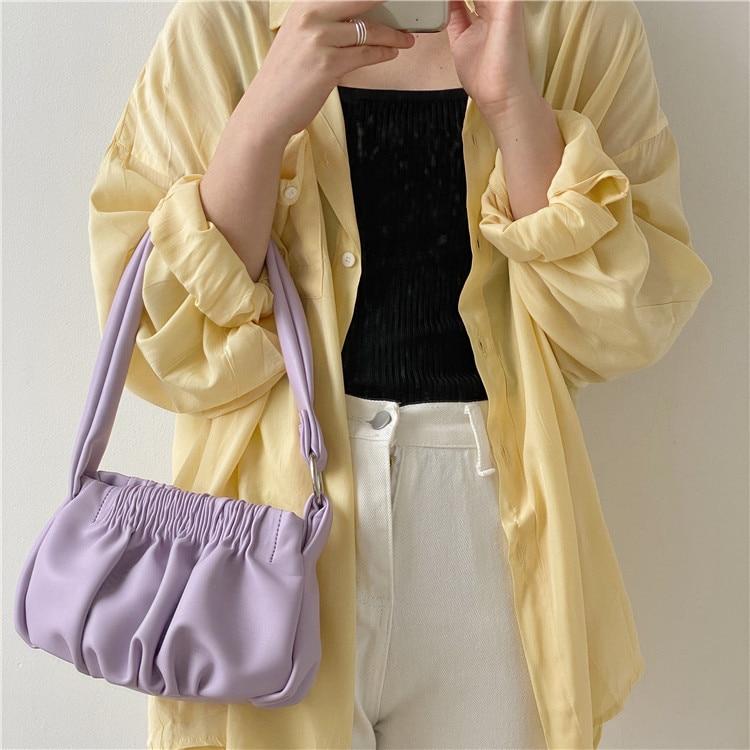 2020 Fold Cloud Totes Bags For Women Underarm Bag PU Leather Womens Handbags Evening Clutch Purses Lady Dumplings Handbags New