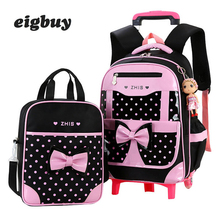 Removable Backpacks For Children School Bags With 2 Wheels Child Waterproof Trolley Backpack Kids Wheeled Bags Boys Bookbag все цены