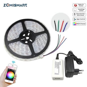 Zemimart Zigbee ZLL pilote avec bande de LED 5M contrôle de basse tension rvb par echo plus directement Smartthing