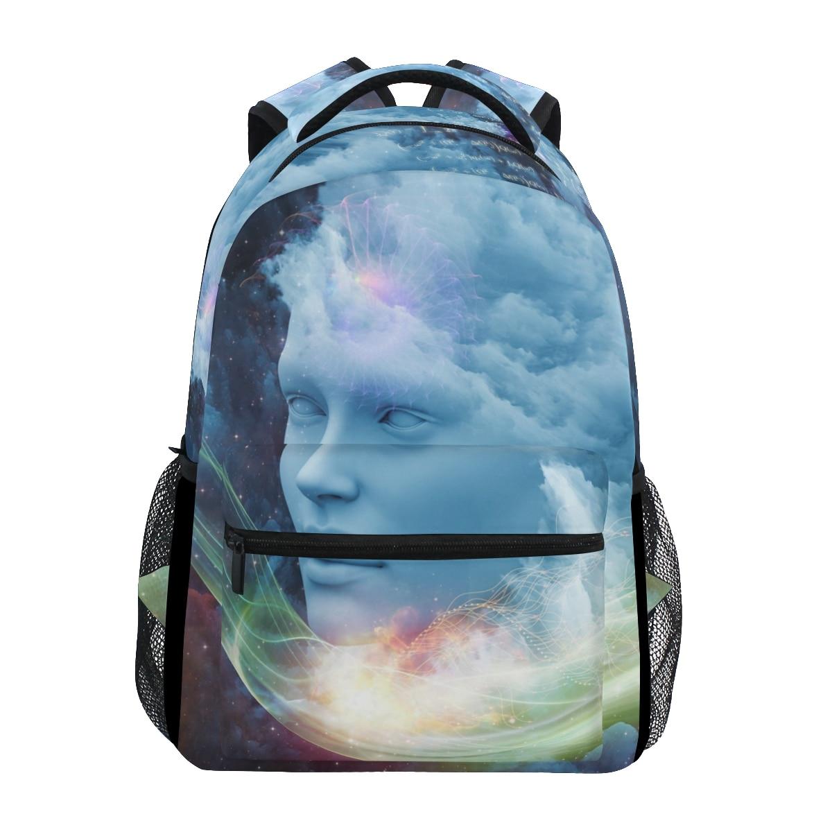 ALAZA Backpacks Girls School Bags Portrait Starry Sky Prints Fashion Backpack Student Black Schoolbags Book Bag New Leisure Bag