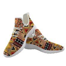 ELVISWORDS African Ethnic Geometric Printed Men Knitting Mesh Sneakers Comfortab