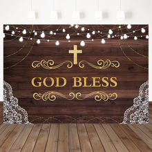 First Holy Communion Baptism Party Backdrop Rustic Wood God Bless Floral Photography Background Christening Decor Photo Booth