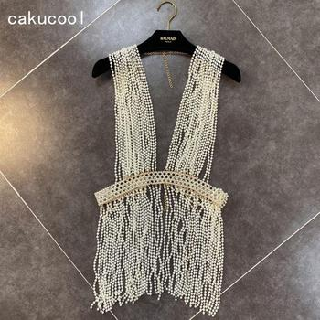 Cakucool Women Pearls Beading Tassels Vest Heavy Made High-end Designer Summer Spring folk-custom Bohemian Camis Tank Top Lady