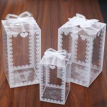 5/10 pçs caixa de flor de renda clara caixa de embalagem de pvc favores presentes doces bolo boxe para presentes fita chá de fraldas fontes de festa de casamento