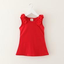 цена на 1-7year Girls Dress Summer Chiffon shoulder belt design Solid Color Sleeveless Dress Baby Cute Dress