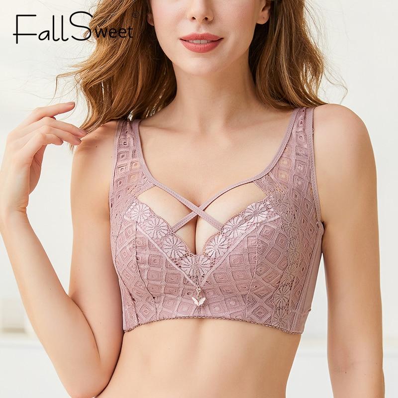 FallSweet-Sujetador de encaje sin aros para mujer, ropa interior calada, copa C D E, lencería Sexy de talla grande