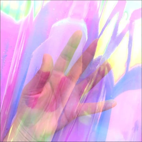 Duża laserowo opalizująca przezroczysta folia gruba celofan przezroczysta tęcza arkusz żywica inkluzje ozdoby na sztuka z żywicy