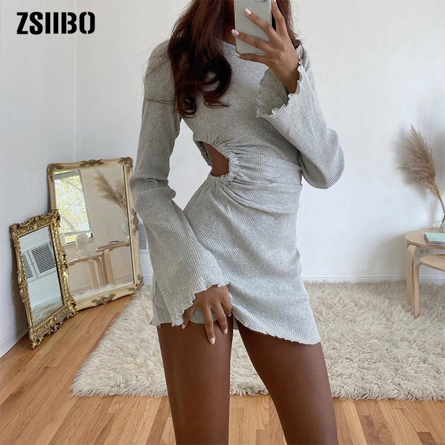 Autumn Draped Flare Sleeve Cut-Out Mini Dresses Knitting Round Neck Ruched Dress Skinny Chic Casual Streetwear 1