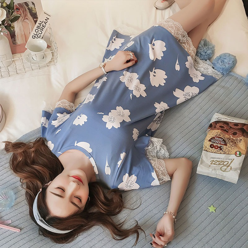 Short-sleeved Women's Nightdress Round Neck   Nightgowns   Sweet Print   Sleepshirts   Lace Stitching Nightdress