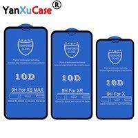 10 pz/lotto 10D vetro temperato per iPhone 12 11 Pro Max XS XR X 8 7 6 6S più copertura completa copertura curva protezione dello schermo su SE2