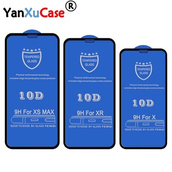 10pcs/lot 10D Tempered Glass For iPhone 11 Pro Max XS XR X 8 7 6 6S Plus Full Coverage Cover Curved Screen Protector On SE 2020