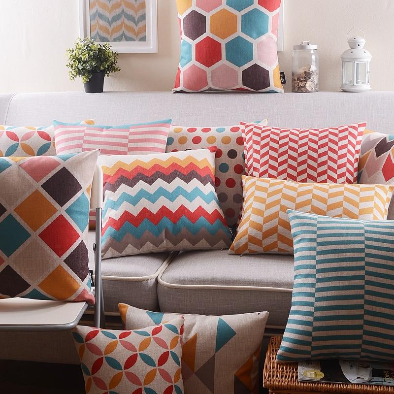 Нордическая красная полоса Геометрическая Подушка, декоративная подушка для дома, льняная подушка, чехол для дивана, поясная подушка