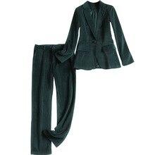 Women's corduroy pant suits Blazers suit jacket two-piece 20