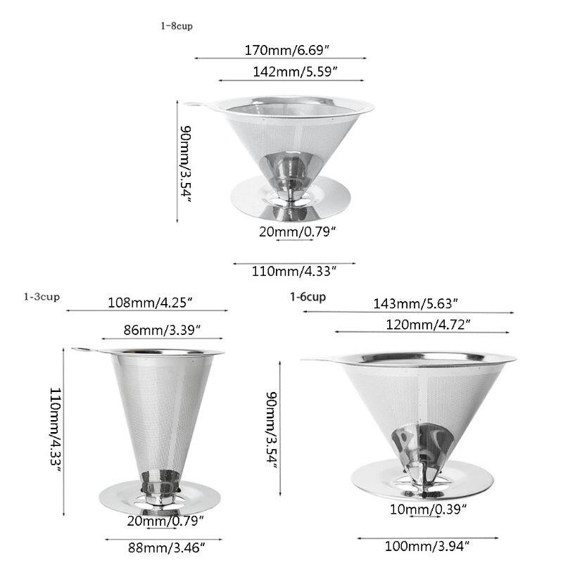 Verser sur le filtre réutilisable de café de cône d'égouttement d'acier inoxydable de goutteur de café