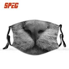 Cavala Cuddly Cute Padrão de Tigre Gato Unisex Máscara Facial Anti Poeira Máscara Respirador Máscara Boca Mufla com Filtros de Proteção Frio