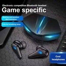 Tws gaming headset sem fio bluetooth fones de ouvido super baixo com luz led baixa latência posicionamento som para telefones inteligentes