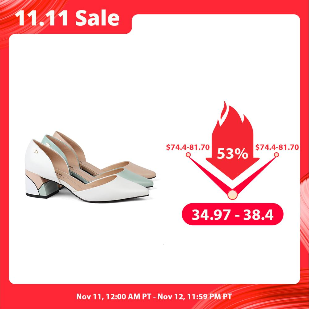 Clearance SaleSOPHITINA Square Heel Shoes Pumps Special Comfortable Genuine-Leather Fashion Shallow