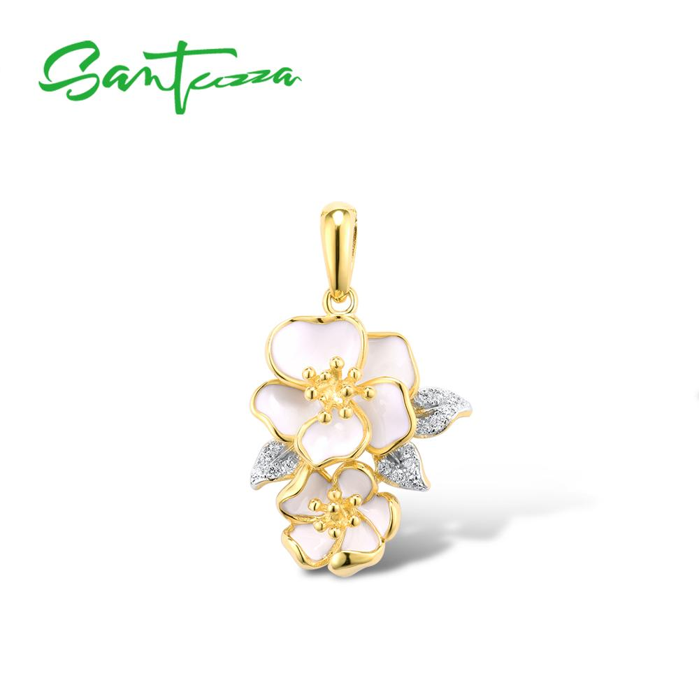 SANTUZZA Silver Pendant For Women Pure 925 Sterling Silver Gold Color Elegant White Orchid Flower  Fine Jewelry HANDMADE Enamel
