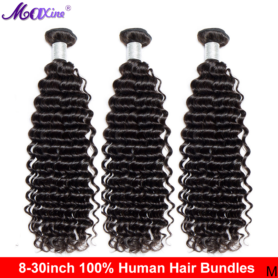 Maxine, пряди глубоких волн, бразильские пупряди для плетения волос, сделка, натуральные черные необработанные человеческие волосы для наращи...