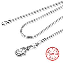 Handmade 16-28inch 100% 925 Sterling Silver Chokers Necklaces Charm 1mm Snake Chains Necklaces for Women men Fine Jewelry(China)