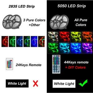 Водонепроницаемый RGB светодиодный ленточный светильник 5 м 10 м 15 М 5050 Led DC12V гибкая лента 2835 Светодиодная лента s праздничный декоративный све...
