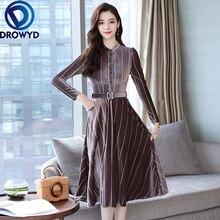 Vintage Gold Velvet Midi Dress Women Autumn Boho Long Sleeve O-neck Striped Print Slim Dress Casual Holiday Party Dress Vestidos