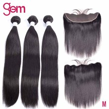 10  30 Inch Bundles With Frontal Brazilian Staright Hair Bundles With Frontal Human Hair Bundles With Lace Frontal GEM Remy Hair