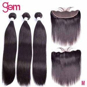 Image 1 - 10 30 Inch חבילות עם פרונטאלית ברזילאי Staright שיער חבילות עם פרונטאלית שיער טבעי חבילות עם תחרה פרונטאלית פנינה רמי שיער