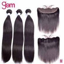 10 30 inç demetleri ile Frontal brezilyalı düz saç demetleri ile Frontal insan saçı demetleri ile dantel Frontal mücevher remy saç