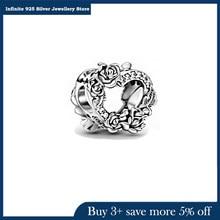Genuine 2021 New 925 Sterling Silver Beads Open Heart & Rose Flowers Charms Fit Original Pandora Bracelet Women DIY Jewelry