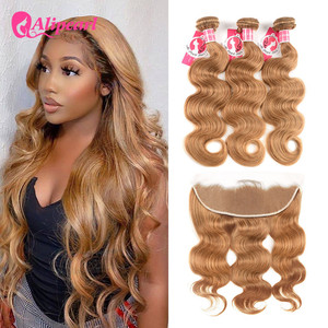 Alipearl Blonde Bundles With Frontal #27 Brazilian Body Wave Human Hair Lace Frontal Closure With Bundles Remy Hair Extension