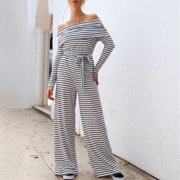 Women One-shoulder lapels striped sexy casual jumpsuit women Off Shoulder Elasticised waist Ankle-Length Wide leg Q30