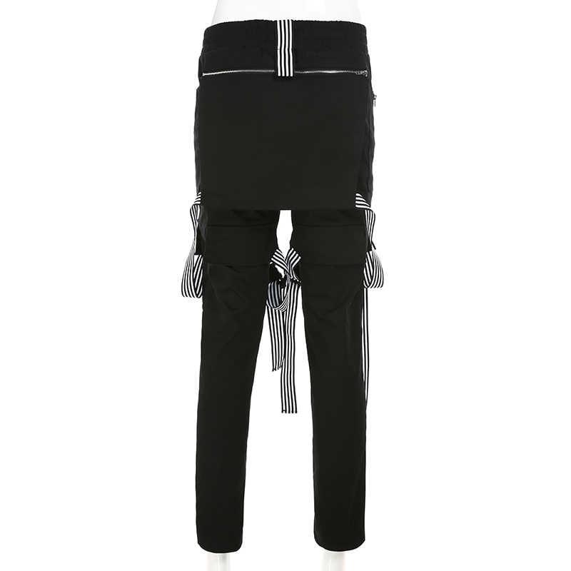 Weekeep уличная Пряжка лоскутные брюки для женщин Мода Высокая талия брюки карго 2019 прямые брюки для женщин
