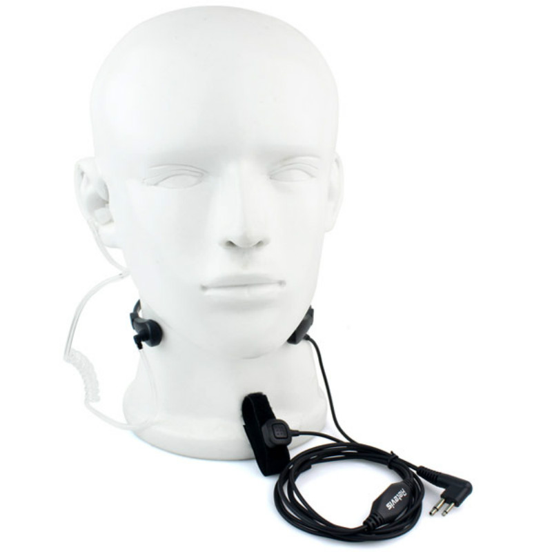 RETEVIS 2 Pin PTT Throat MIC Covert Acoustic Tube Earpiece for Radio GP88 GP300 GP2000 CT150 P040 Black New
