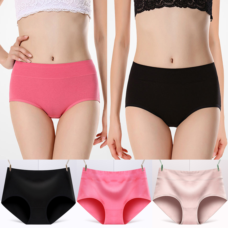 3Pcs/Pack Briefs for Sexy woman panties Solid seamless Middle Waist underpants panties women cotton underwear girl knickers 5