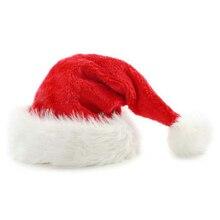 Плюшевые рождественские шляпы, Рождественские Праздничные рождественские шапки для Санта-Клауса, рождественские шляпы, Прямая поставка