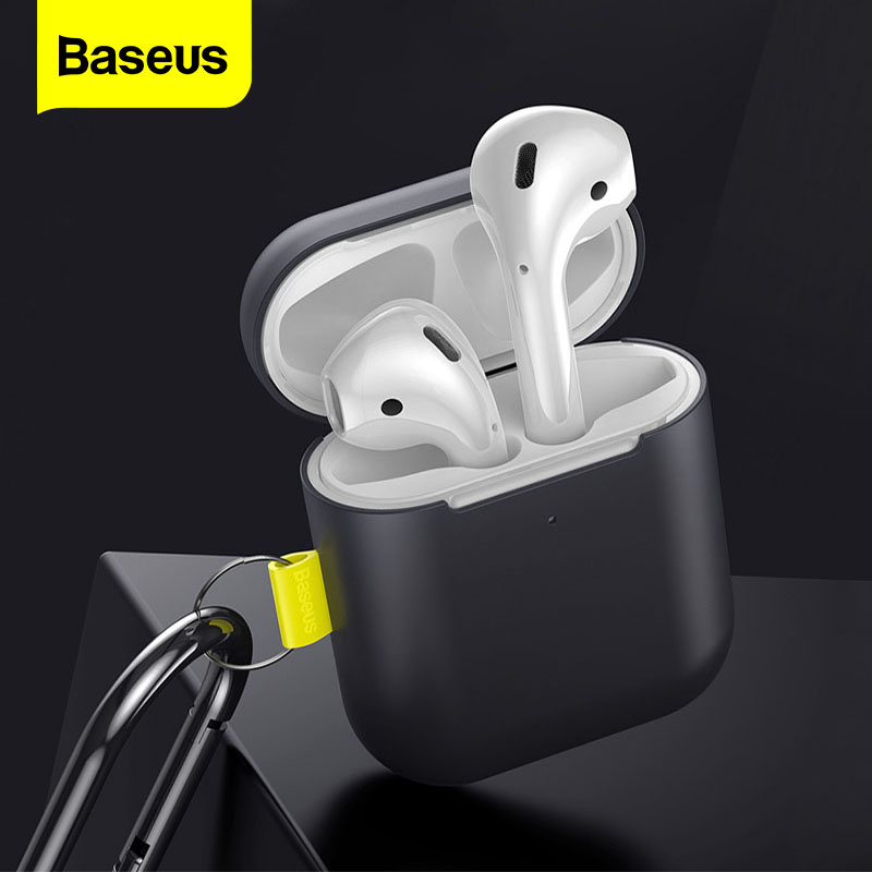 Baseus Earphone Case For Airpods 2 1 Hook Silica Case For AirPods Case Anti-Fall Shockproof Protective Cover For Airpods Coques