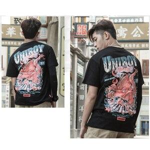 Image 5 - 2019 Harajuku camiseta pulpo hombres Hip Hop camiseta Streetwear verano algodón camiseta de manga corta estampado negro camisetas ropa de calle